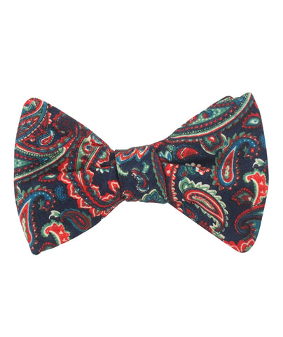 Rocambolesco Green Paisley Self Bow Tie
