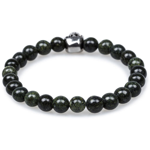 Rope's End Green Phantom Quartz Skull Bracelet