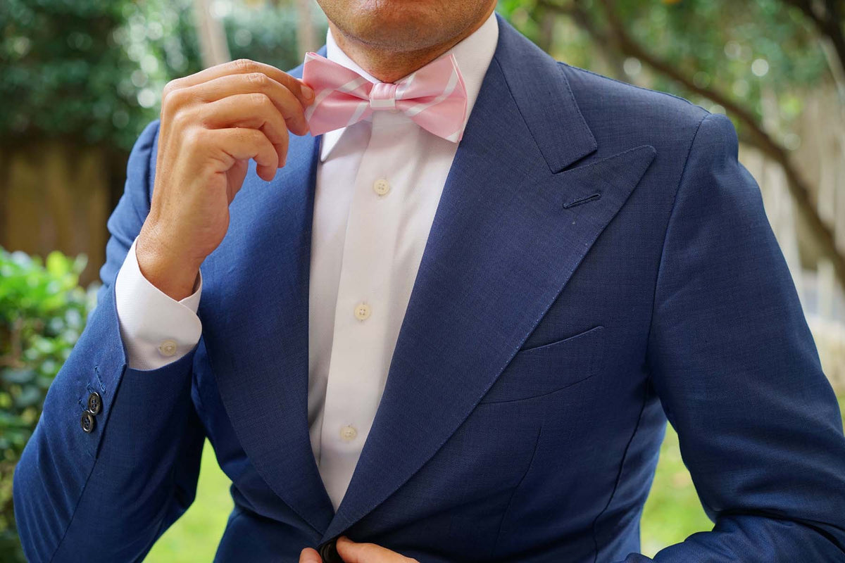 Rose Pink Striped Bow Tie