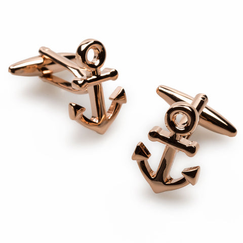 Rose Gold Anchor Cufflinks