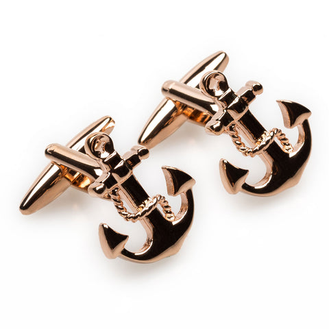 Rose Gold Anchor Rope Cufflinks
