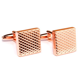 Rose Gold Grid Square Cufflinks