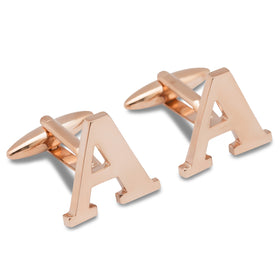 Rose Gold Letter A Cufflinks