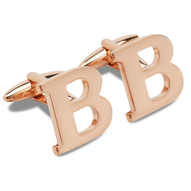 Rose Gold Letter B Cufflinks