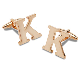 Rose Gold Letter K Cufflinks