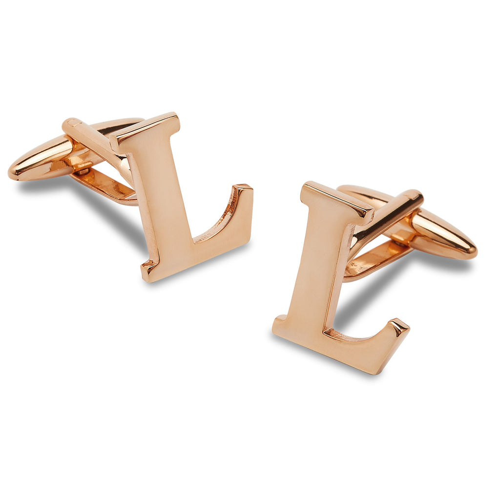 Rose Gold Letter L Cufflinks