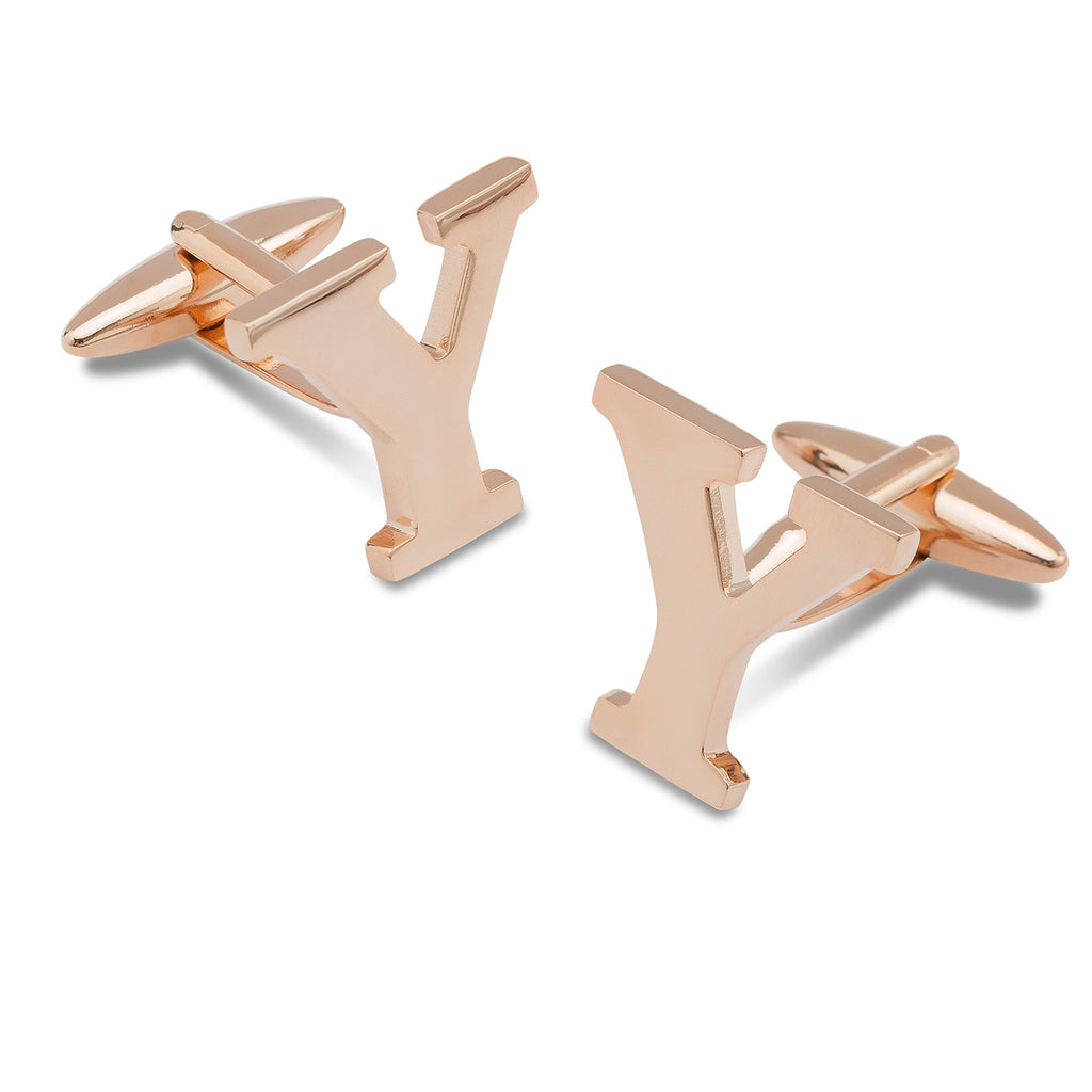 Rose Gold Letter Y Cufflinks
