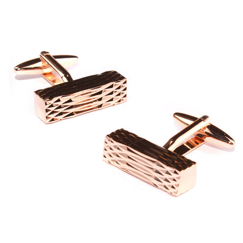 Rose Gold Rectangular Cylinder Groove Cufflinks
