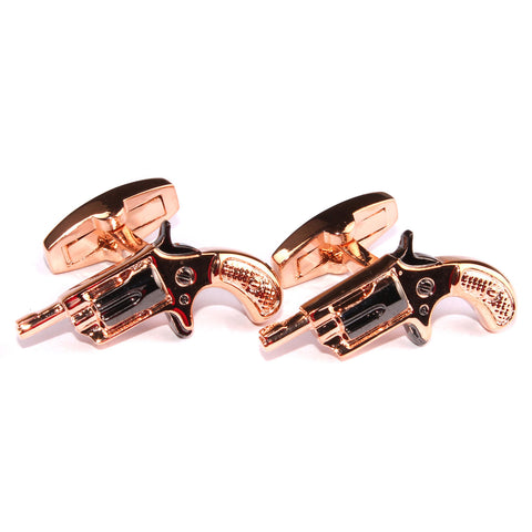 Rose Gold Revolver Gun Cufflinks