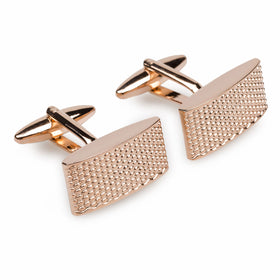 Rose Gold Textured Rectangular Bend Cufflinks