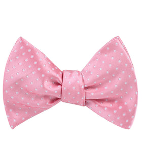 Rose Pink Mini Polka Dots Self Bow Tie