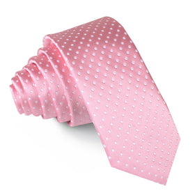 Rose Pink Mini Polka Dots Skinny Tie