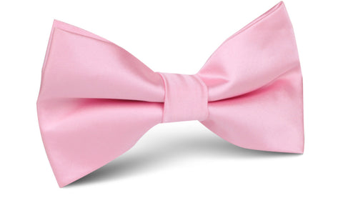 Rose Pink Satin Bow Tie