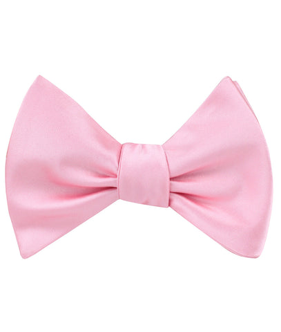 Rose Pink Satin Self Bow Tie