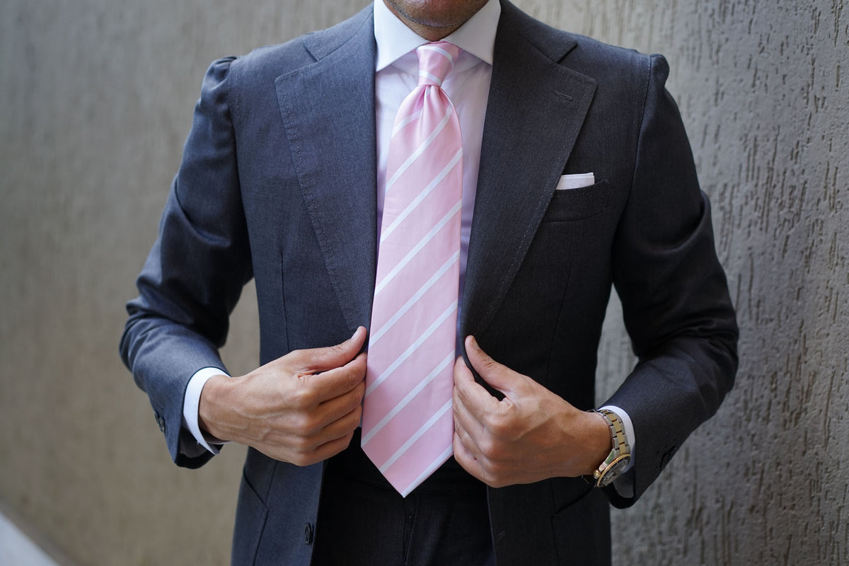 Rose Pink Striped Necktie