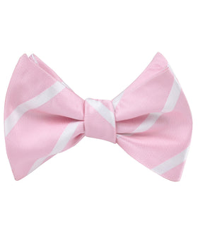 Rose Pink Striped Self Bow Tie