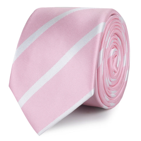 Rose Pink Striped Skinny Tie