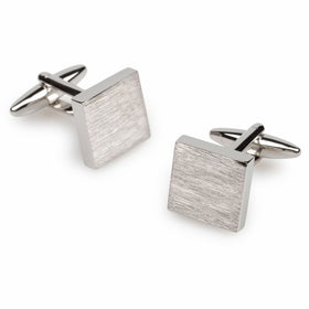 Rosetta Brushed Silver Square Cufflinks