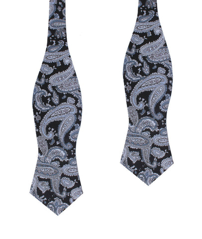 Ross Archipelago Black Paisley Diamond Self Bow Tie