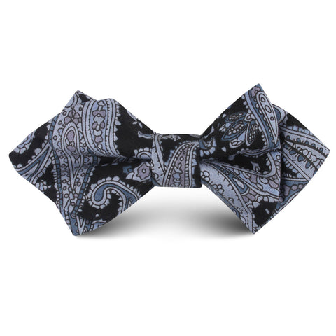 Ross Archipelago Black Paisley Kids Diamond Bow Tie