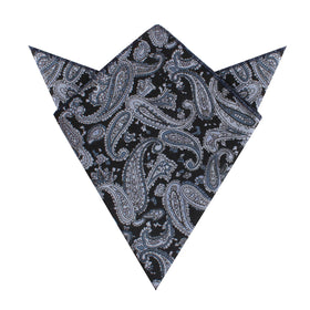 Ross Archipelago Black Paisley Pocket Square