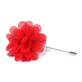 Red Flower Lapel Pin Front Boutonniere