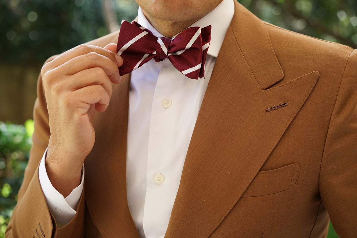 Royal Burgundy Striped Self Bow Tie