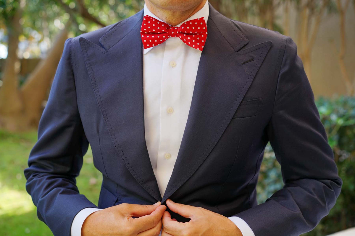 Royal Red Polka Dots Bow Tie