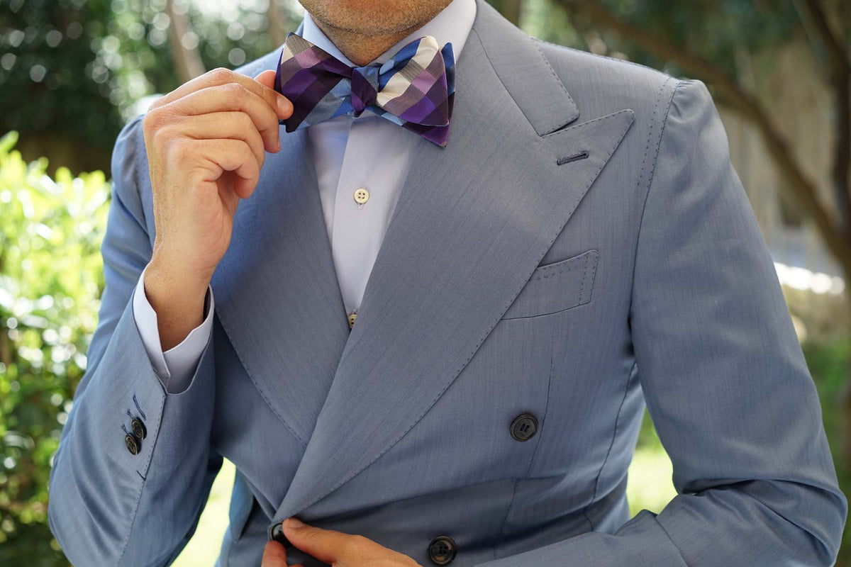 Royal Violet Checkered Self Tie Bow Tie