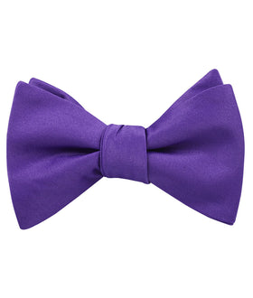 Royal Violet Purple Satin Self Bow Tie