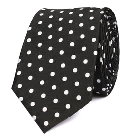 Royal Black Polka Dots Skinny Tie