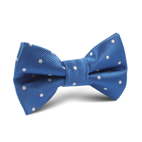 Royal Blue with White Polka Dots Kids Bow Tie