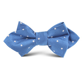 Royal Blue with White Polka Dots Kids Diamond Bow Tie