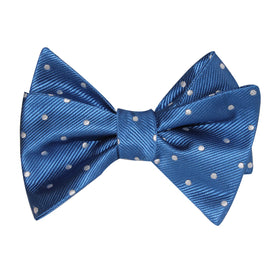 Royal Blue with White Polka Dots Self Tie Bow Tie