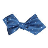 Royal Blue with White Polka Dots Self Tie Diamond Tip Bow Tie 2