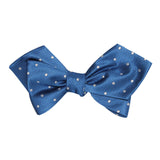 Royal Blue with White Polka Dots Self Tie Diamond Tip Bow Tie 1