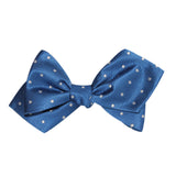 Royal Blue with White Polka Dots Self Tie Diamond Tip Bow Tie 3