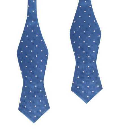 Royal Blue with White Polka Dots Self Tie Diamond Tip Bow Tie