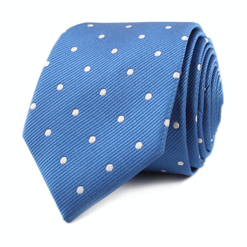 Royal Blue with White Polka Dots Skinny Tie