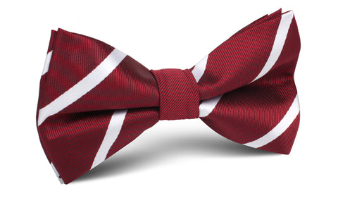 Royal Burgundy Striped Bow Tie