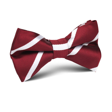 Royal Burgundy Striped Kids Bow Tie