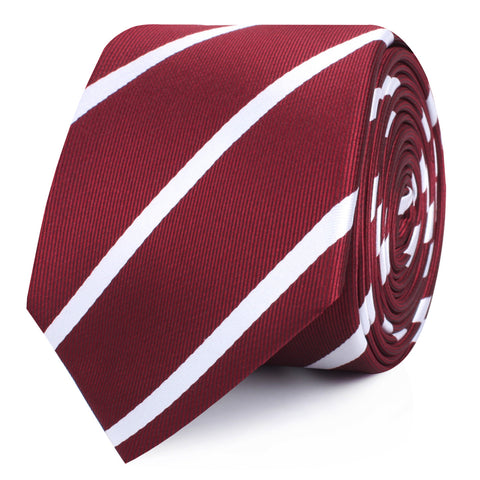Royal Burgundy Striped Skinny Tie