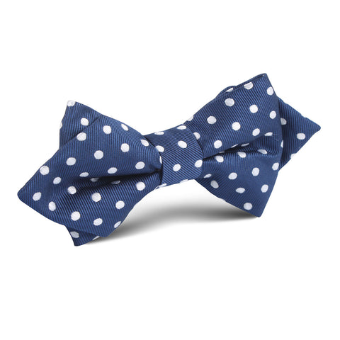 Royal Navy Blue Polka Dots Diamond Bow Tie