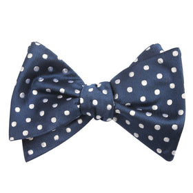 Royal Navy Blue Polka Dots Self Tie Bow Tie
