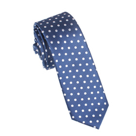 Royal Navy Blue Polka Dots Skinny Tie