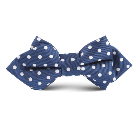Royal Navy Blue Polkadot Kids Diamond Bow Tie