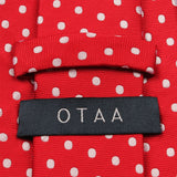Royal Red Polka Dots Necktie Back View
