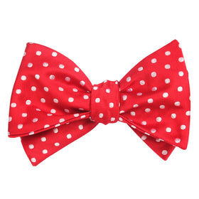 Royal Red Polka Dots Self Tie Bow Tie