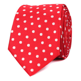 Royal Red Polka Dots Skinny Tie