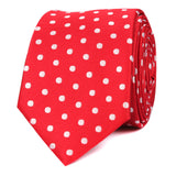 Royal Red Polka Dots Skinny Tie Front
